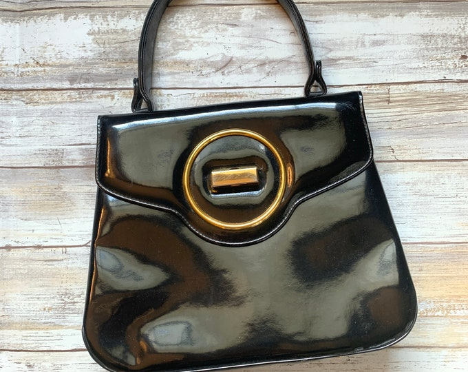 1950s Black Patent Leather Purse / Handbag. Vintage Saks Fifth Avenue Bag. Perfect Gift for a Fashionista.