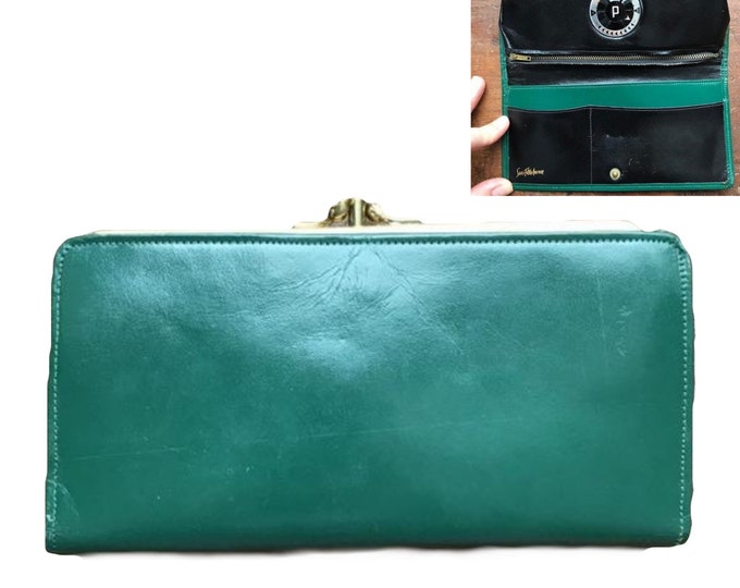1950s Leather Clutch or Wallet from Saks Fifth Avenue with built in Timer. Forest Green Leather. You have to see it to believe it.