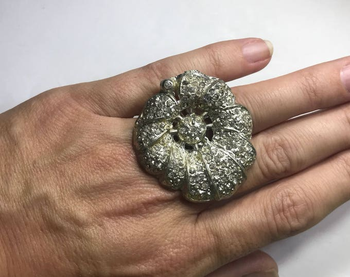Vintage Rhinestone Flower Ring. Silver Statement Ring. Upcycled Brooch Ring. Recycled Jewelry. Vintage Reused Ring. Gift for Her