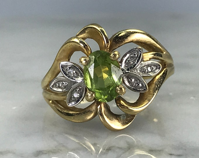Peridot Diamond Ring. 10K Gold. Unique Engagement Ring. Estate Jewelry. August Birthstone. 16th Anniversary Gift.