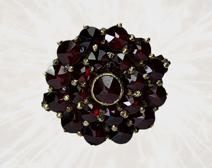 1940s Garnet Cluster Statement Ring in 14k Yellow Gold. Unique Bohemian Engagement Ring. January Birthstone. 2 Year Anniversary Gift.