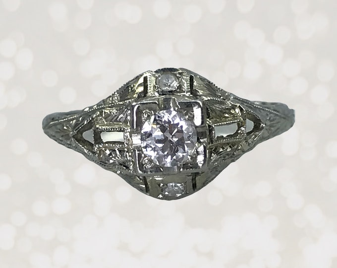 Art Deco Diamond Engagement Ring in an 18K White Gold Filigree Setting. April Birthstone. 10 Year Anniversary Gift.
