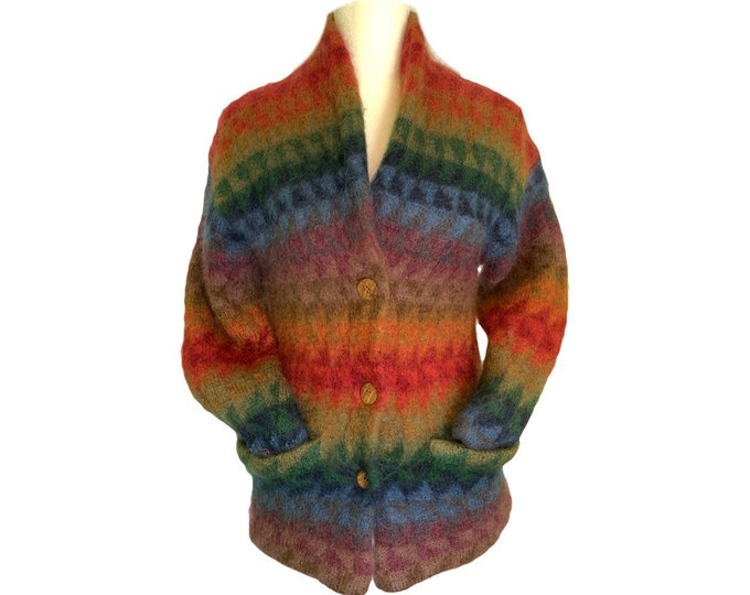 Vintage Chunky Wool Sweater Jacket in a Rainbow Southwestern Design by Susan Bristol. Must have for fall!