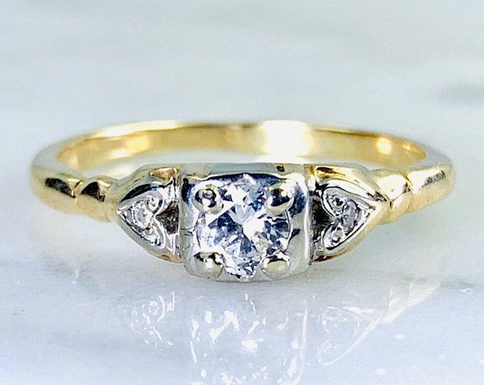 Art Deco Diamond Engagement Ring in 14K Gold. Unique Engagement Ring. April Birthstone. 10 Year Anniversary Gift.