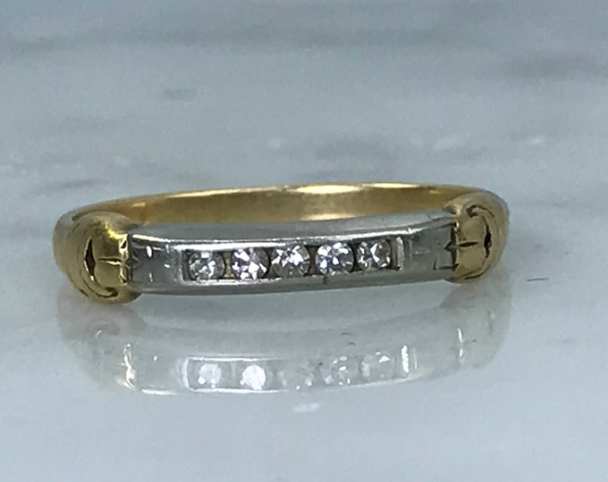 Vintage 1950s Diamond Wedding Band or Stacking Ring in 14K Gold. April Birthstone. 10th Anniversary Gift. Estate Jewelry.