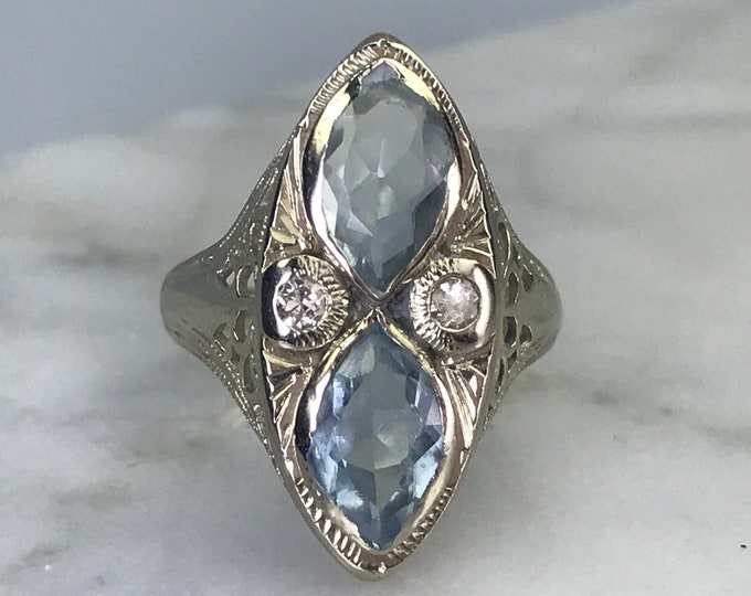 Art Deco Aquamarine Ring with Diamond Accents. 14k White Gold Filigree Setting. Unique Engagement Ring. March Birthstone.
