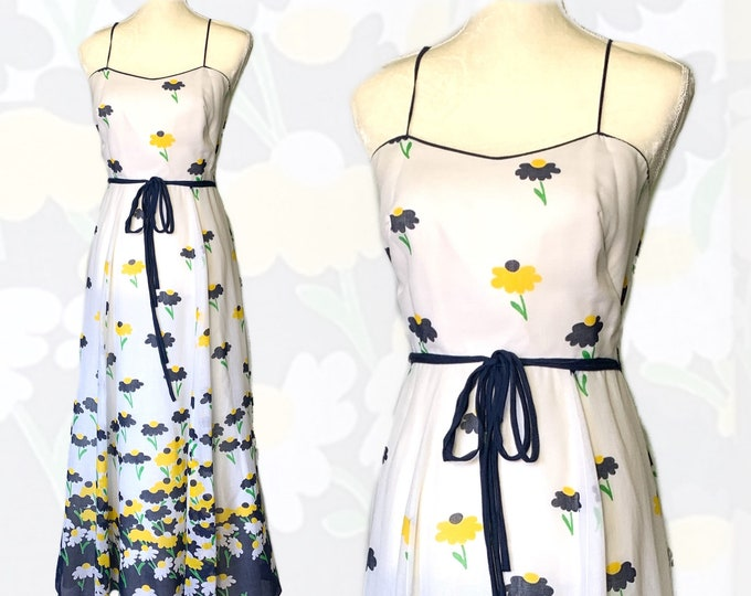 1960s Floral Summer Maxi Dress by Miss Elliette with Capelet in Blue and Yellow Daisies. Perfect for a Vintage Wedding or Festival Dress