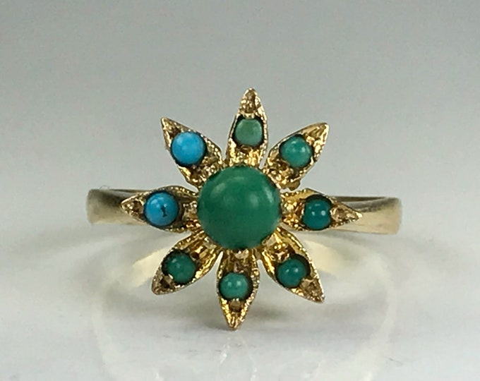Vintage Turquoise Ring. Gold Flower Setting. Unique Engagement Ring. Estate Fine Jewelry. December Birthstone. Blue and Green Turquoise.