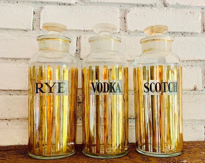 Vintage Mid Century Modern Glass Decanter Set with Gold Leaf Stripes. Set Includes Rye, Scotch and Vodka Bottles. Perfect Housewarming Gift
