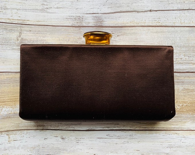 Vintage Brown Satin Clutch with Gold Tone Accents by Evans. 1940s Hollywood Glamour.