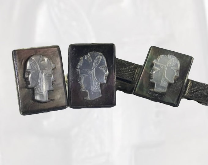 Three Faced Soldier Cameo Cufflinks and Tie Clip. Sterling Silver Mother of Pearl Cuff Links. Gift for Him. Grooms Gift. Fathers Day