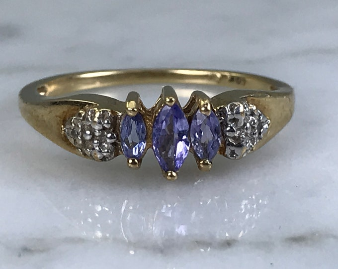 Vintage Tanzanite Ring with Diamond Accents in 10k Yellow Gold. Estate Jewelry. Unique Engagement Ring. December Birthstone.