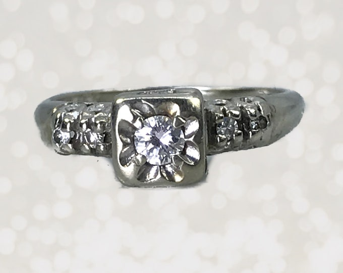 Art Deco Diamond Engagement Ring in 14K White Gold. Unique Engagement Ring. April Birthstone. 10 Year Anniversary