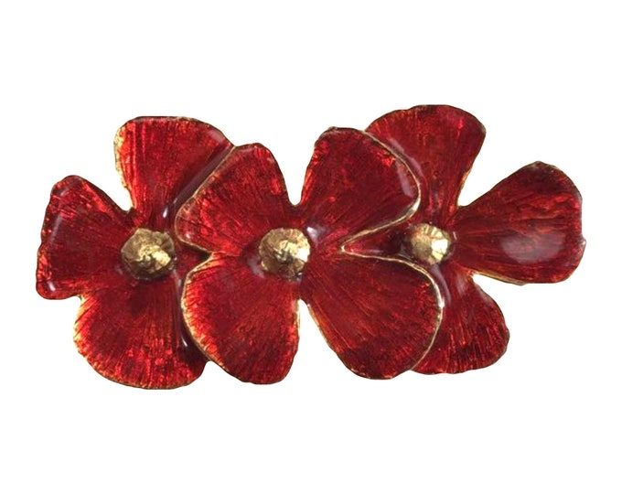 Vintage Red Poppy Brooch by Hattie Carnegie. Possible Statement Necklace or Bracelet? 1950s Sustainable Costume Jewelry.