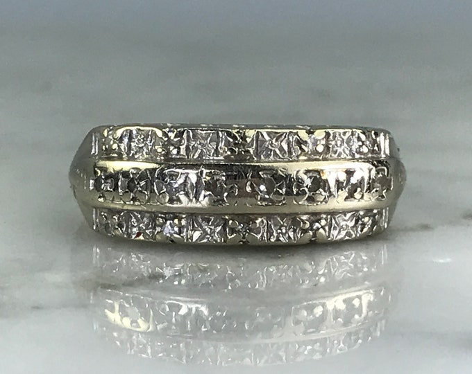 Vintage Diamond Wedding Band. 14K White Gold. Art Deco. April Birthstone. 10th Anniversary. Estate Jewelry. Diamond Stacking Ring. Gold Band