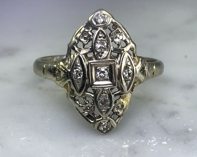 Diamond Shield Ring. 14K Gold. Art Nouveau Filigree. Unique Engagement Ring. April Birthstone. 10 Year Anniversary. Vintage Estate Jewelry.
