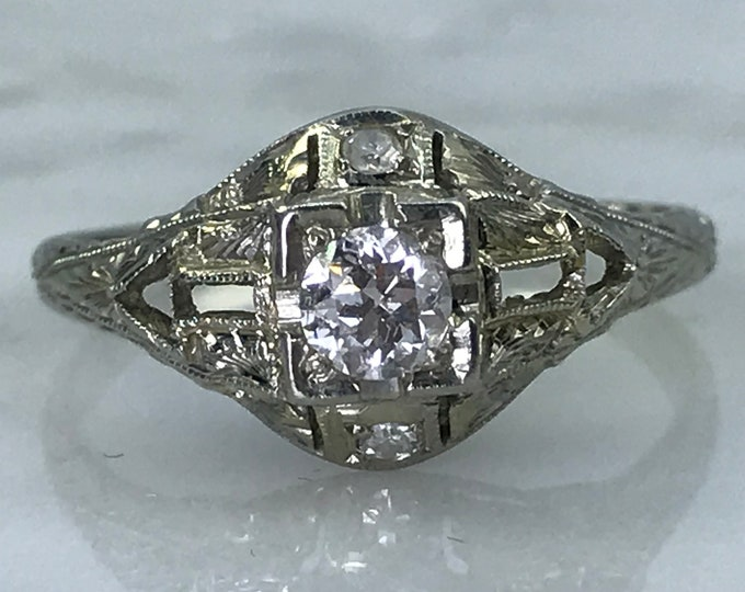 Art Deco Diamond Engagement Ring in 18K White Gold. Unique Alternative Engagement Ring. April Birthstone. 10 Year Anniversary Gift.