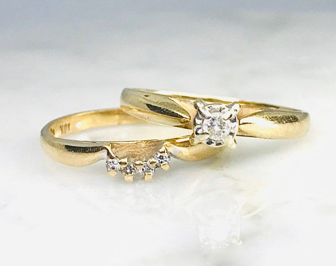Vintage Diamond Bridal Set with Engagement Ring and Wedding Band in 10K Yellow Gold.
