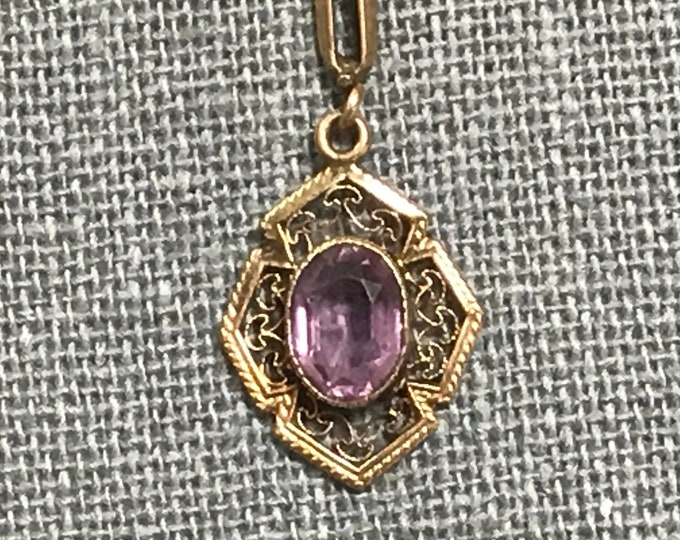 Antique Amethyst Pendant. 10K Yellow Gold. Drop Pendant. Amethyst Pendant. February Birthstone. 6th Anniversary Gift. Estate Jewelry.