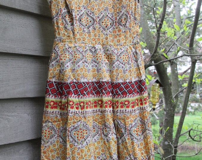 Vintage Summer Dress by Talmack of New York with Red and Yellow Floral Design and Beading