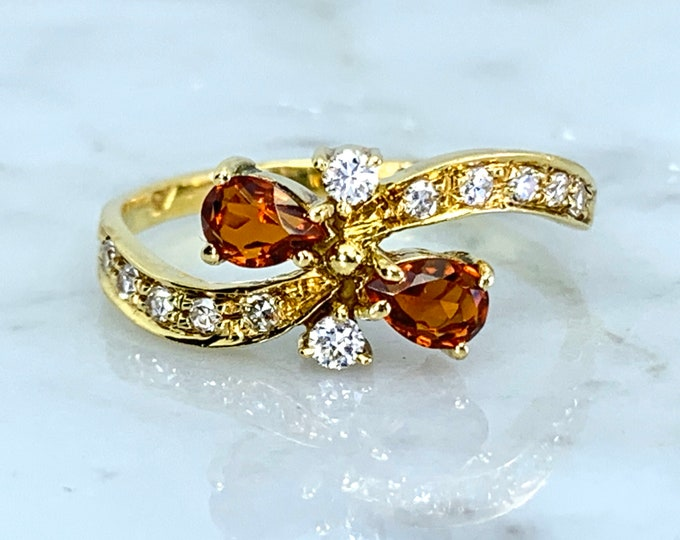 Vintage Citrine Diamond Ring. 18k Yellow Gold. French Estate Jewelry. Unique Statement Ring. November Birthstone. 13th Anniversary Gift.