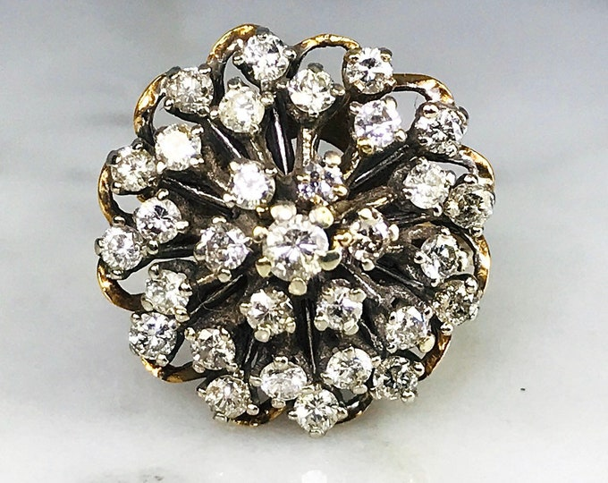 Art Deco Diamond Cluster Ring in 14K Gold Starburst Setting. Unique Engagement Ring. April Birthstone. 10 Anniversary Gift.