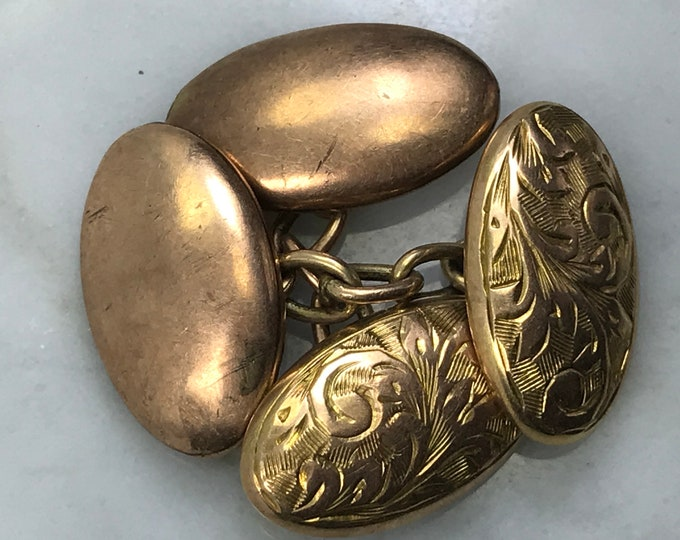 Vintage Gold Cuff Links / Cufflinks. Etched Yellow Gold. Estate Fine Jewelry. Gift for Him. Grooms Gift. Circa 1901. Full English Hallmark