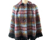 Vintage Mohair Wool Poncho or Jacket in Blue and Red Plaid from Strathtay Originals of Scotland.