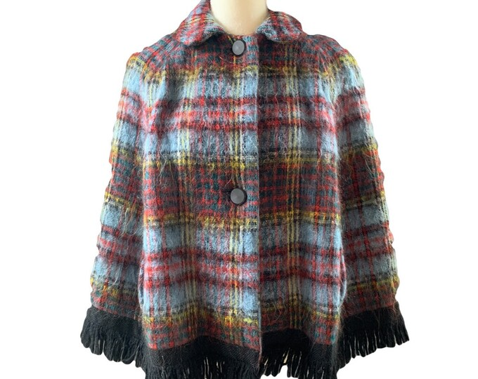 1960s Mohair Wool Poncho Cape in a Blue and Red Plaid from Strathtay Originals of Scotland. Fall or Winter Outerwear Jacket.