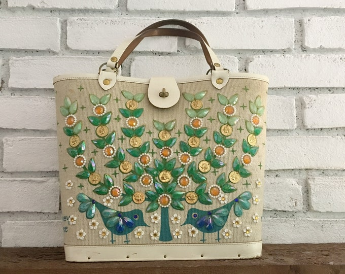 1970s Canvas Handbag with Jeweled Tree and Birds by  Enid Collins Titled Money Tree. Beautiful Spring Bag.