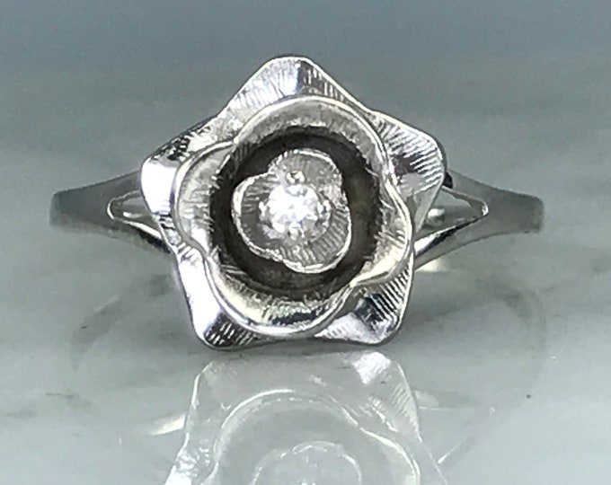 Vintage Diamond Flower Ring in White Gold. Unique Engagement or Promise Ring. April Birthstone. 10 Year Anniversary Gift