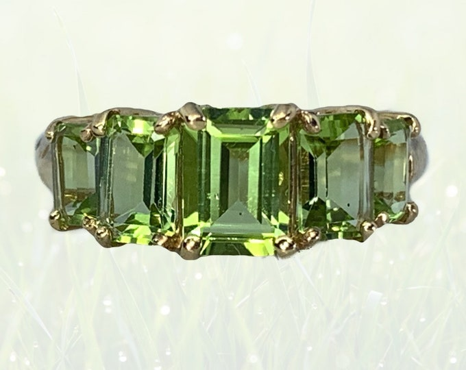1960s Peridot Statement Ring in 10K Yellow Gold. Wonderful Stacking Band. August Birthstone. 16th Anniversary Gift. Estate Jewelry.