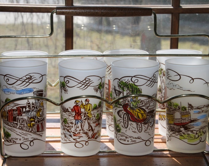 "Vintage Glassware 1950's Currier and Ives Frosted Tall Tumbler Glasses with Painted Scenes""Gay Fad Series"" with Caddy"