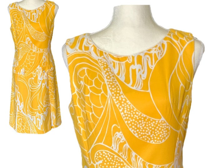 1950s Mod Dress with Yellow and White Floral Design from Cover Girl Miami. Perfect for Special Occasions!