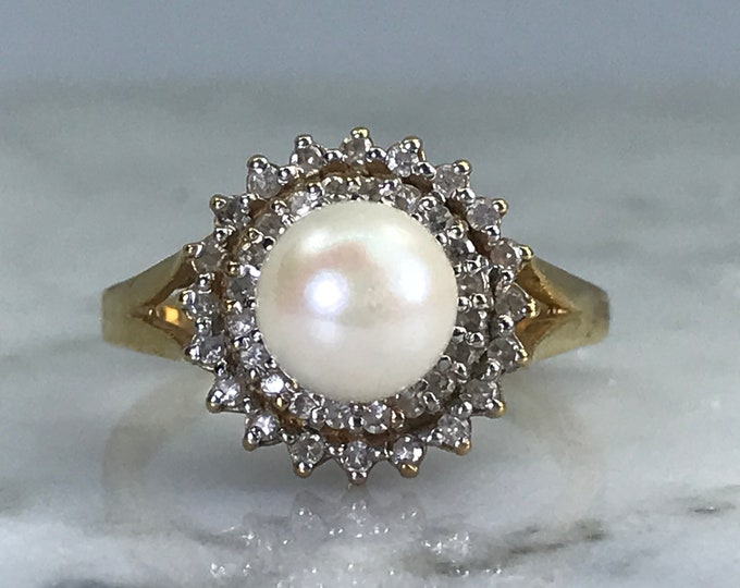 Vintage Pearl Ring. Diamond Halo. 10K Yellow Gold. Estate Jewelry.  June Birthstone. 4th Anniversary Gift. Unique Engagement Ring.