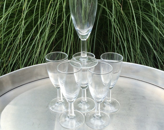 Vintage Glassware Cordial / Shot / Desert Wine Glasses Flute Shaped Glass - Glassware - Barware - Stemware - Serving - Set of 6