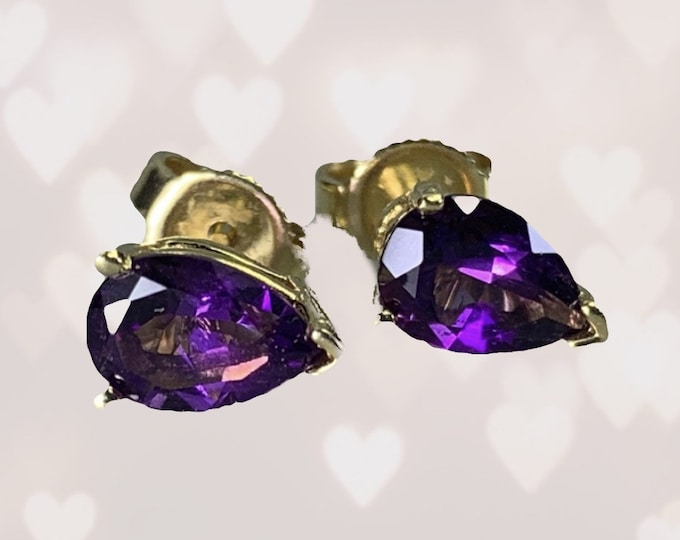 1970s Amethyst Stud Earrings set in 14K Gold. February Birthstone. 6th Anniversary. Perfect for a Purple Wedding Jewelry.
