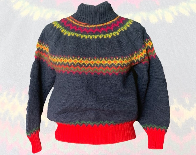 1980s Navy Blue Wool Fair Isle Sweater by United Colors of Benetton. Preppy Style. Sustainable Fall Fashion.