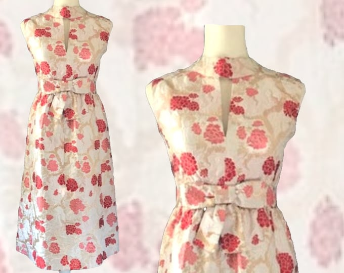 Vintage Kimono Floral Brocade Wiggle Dress with Pink and Red Flowers by Saks Fifth Avenue. 1950s Sustainable Fashion Clothing.
