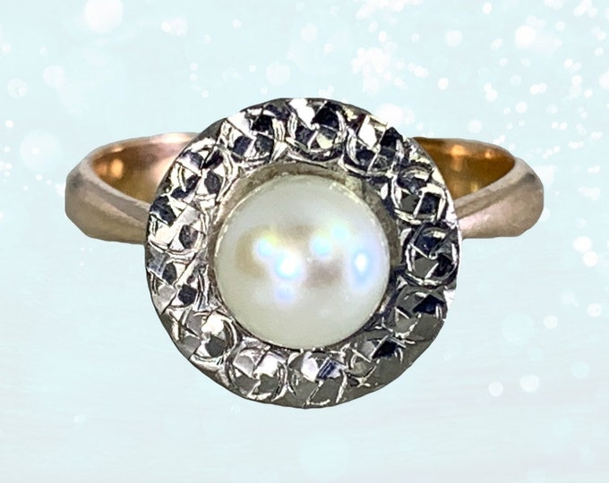 1940s Pearl Engagement Ring set in 14K White and Rose Gold. Sustainable Vintage Estate Jewelry. June Birthstone