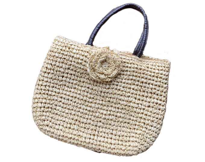 Vintage Straw Handbag from Neiman Marcus. Spring or Summer Market Tote or Beach Bag. 1970s Sustainable Fashion Accessory.