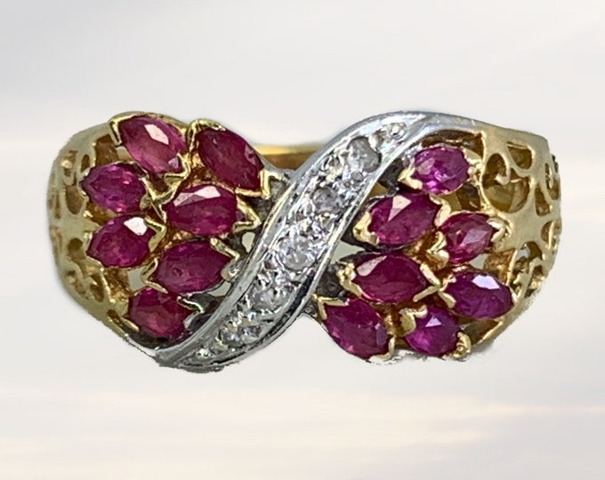 Vintage 1960s Ruby and Diamond Cluster Bypass Ring in 14K Yellow Gold. July Birthstone. 15th Anniversary Gift. Estate Jewelry.