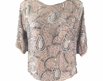 5c9f6bfa5 Vintage Beaded and Sequin Pink Blush Silk Blouse. Vintage Saks Fifth Avenue  Evening Attire.