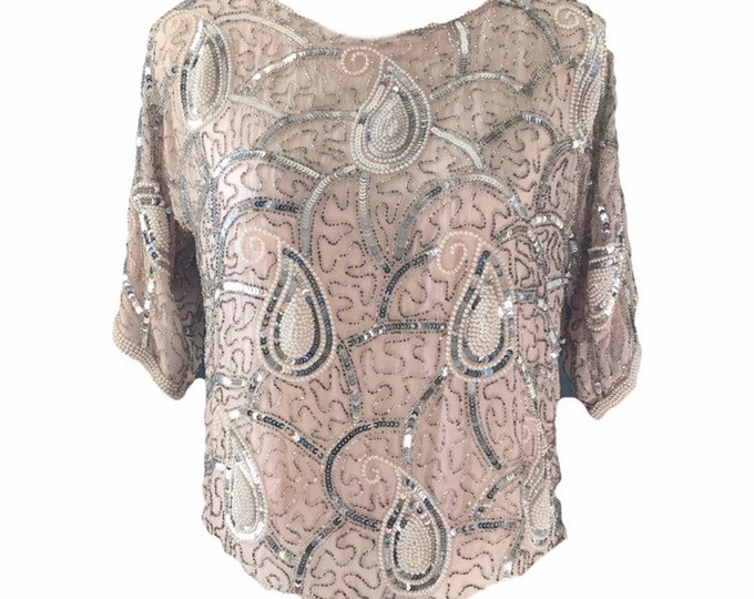 Vintage Beaded and Sequin Pink Blush Silk Blouse. Vintage Saks Fifth Avenue Evening Attire.