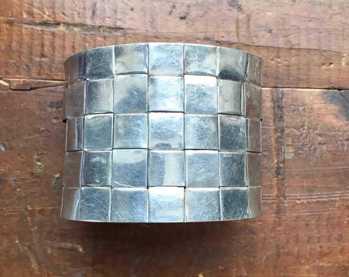 Vintage Sterling Silver Cuff Bracelet. Woven Bangle Cuff Bracelet. Estate Jewelry. Gift for Her