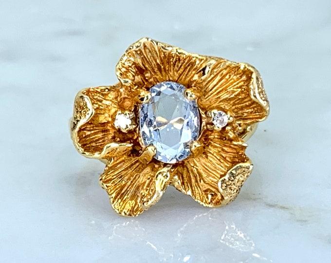 Topaz Diamond Flower Ring. Sky Blue Topaz. 14K Gold. Unique Engagement Ring. November Birthstone. 4th Anniversary. Vintage Estate Jewelry.