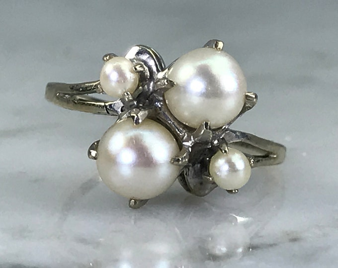 Vintage Pearl Ring. 14k White Gold. Pearl Engagement Ring. Estate Jewelry. June Birthstone. 4th Anniversary Gift. Unique Engagement Ring.