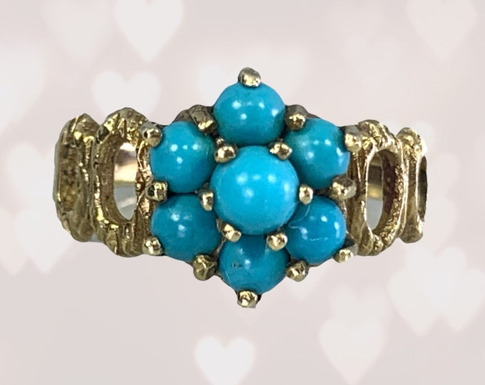 1970s Turquoise Flower Ring in Yellow Gold. Boho Chic Cluster Floral Setting. Sustainable Vintage Estate Jewelry. December Birthstone.
