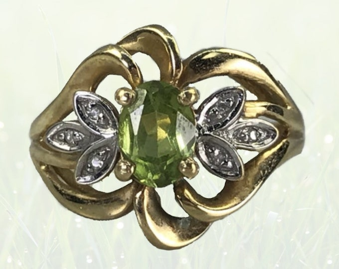 1970s Peridot and Diamond Cocktail Ring in 10K Yellow Gold. Sustainable Estate Jewelry. August Birthstone. 16th Anniversary Gift.