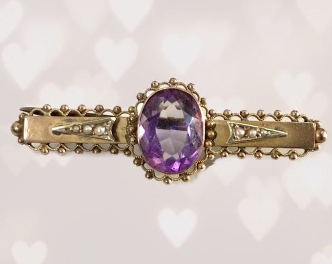 1930s Amethyst Brooch or Pendant in 9K Rose Gold. February Birthstone. 6th Anniversary Gift. Antique Estate Jewelry.